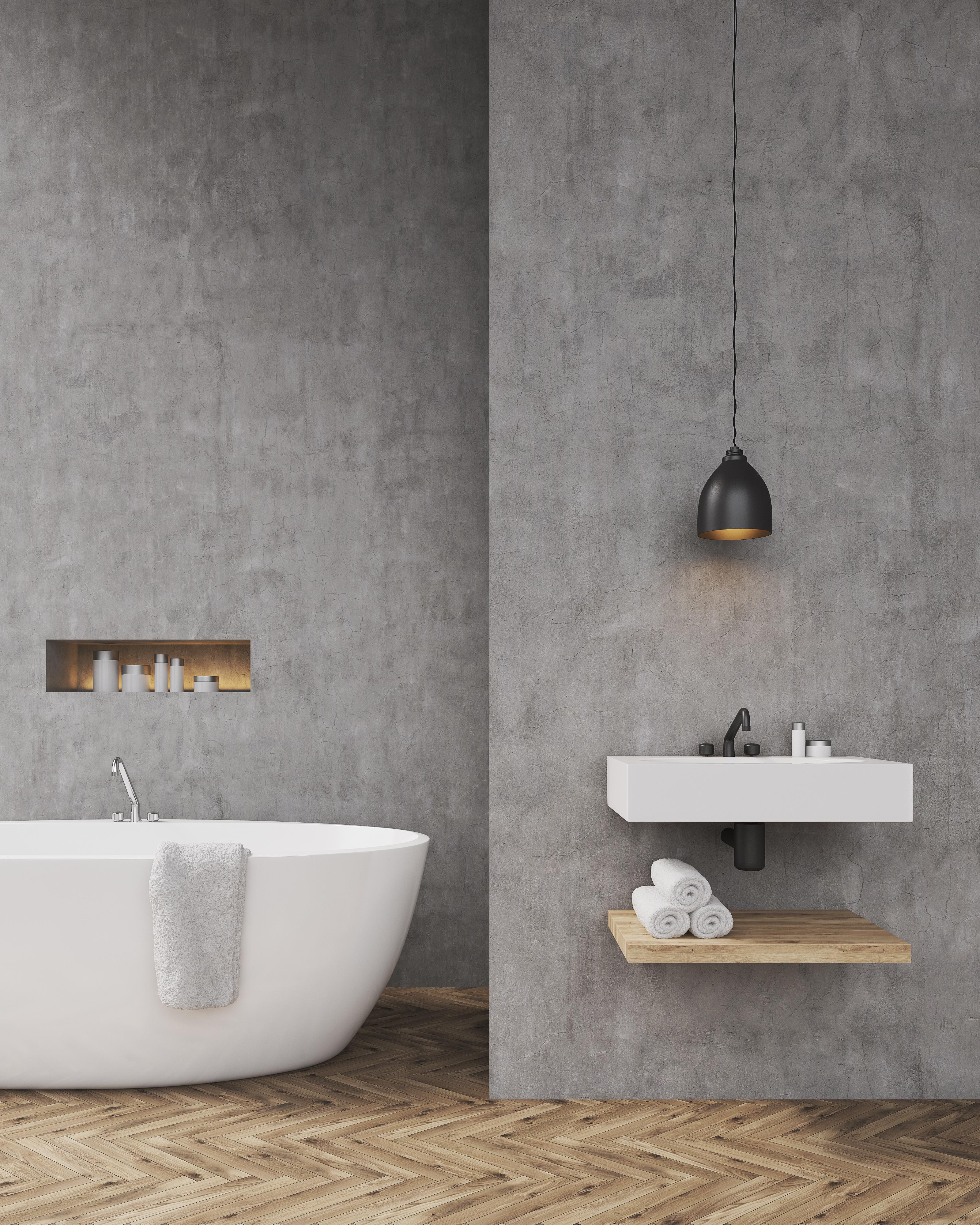 béton ciré salle de bain sur mur
